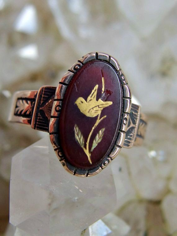 Victorian Rose Gold Bird Ring Rose of Sharon Style Oval Carved