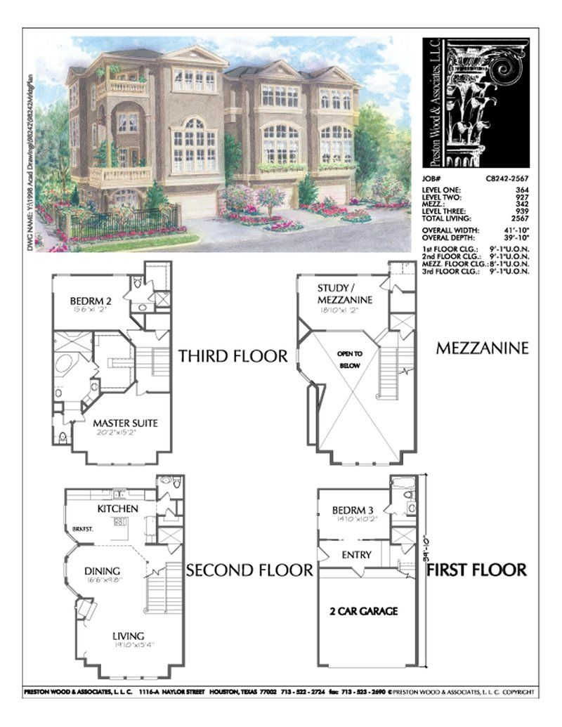 3 1 2 Story Duplex Townhome Plan C8242 Pool House Designs Townhouse Floor Plans