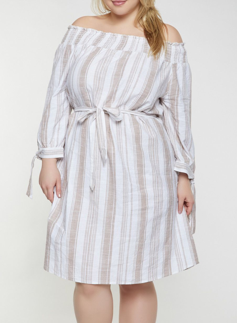 Plus Size Striped Off the Shoulder Linen Dress | Products in ...