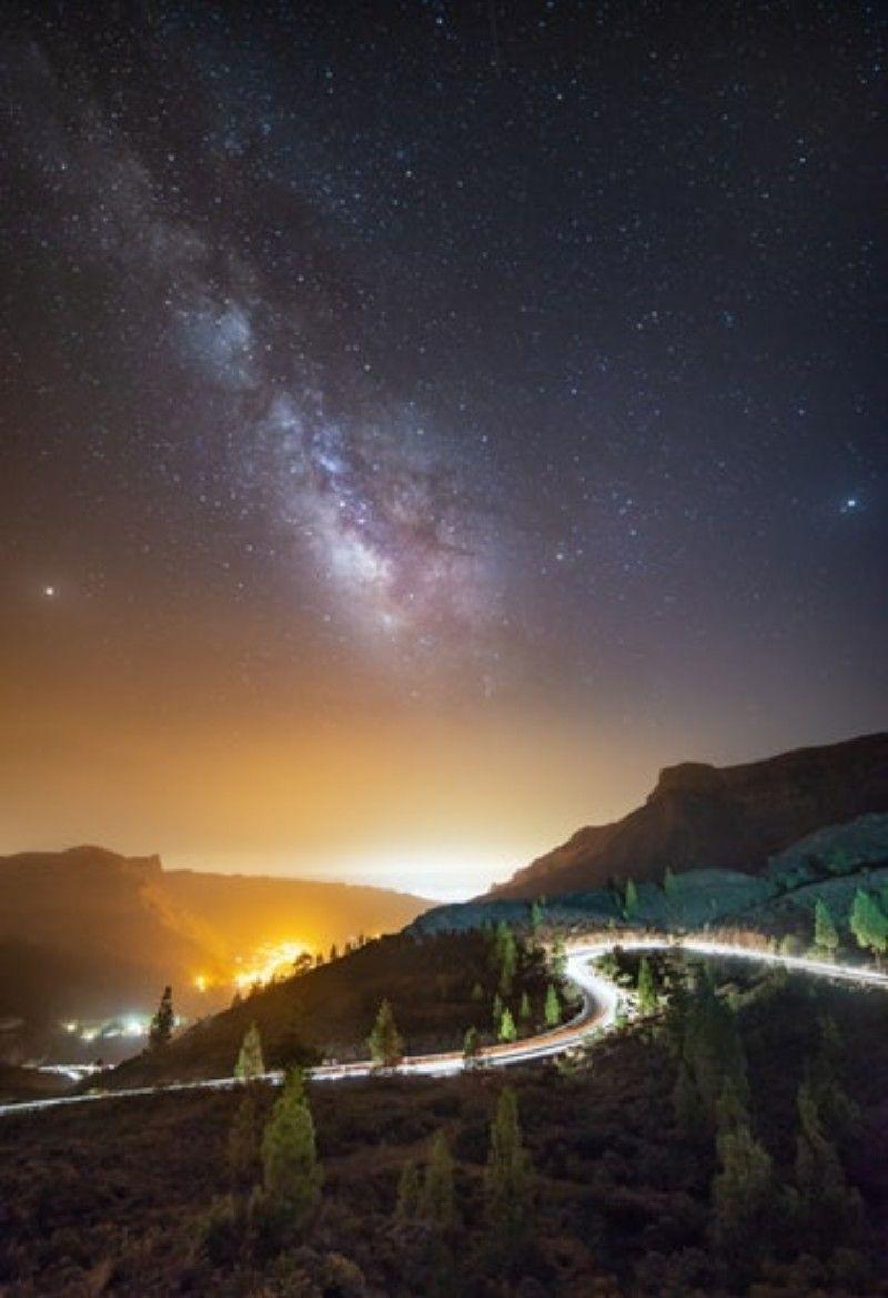 Gran Canaria Spain Milkyway Spain Roads Nightlife Photo