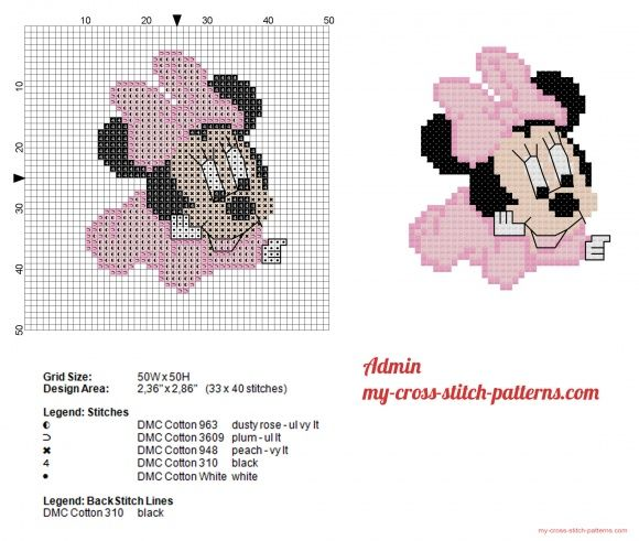 Disney Baby Minnie small cross stitch pattern | Cross stitch