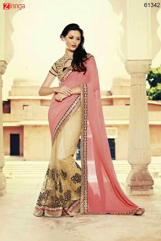 3e2a524bd1 Incredible Plain Pallu Saree in Dark Cream & Salmon Color.  Message/call/WhatsApp at +91-9246261661