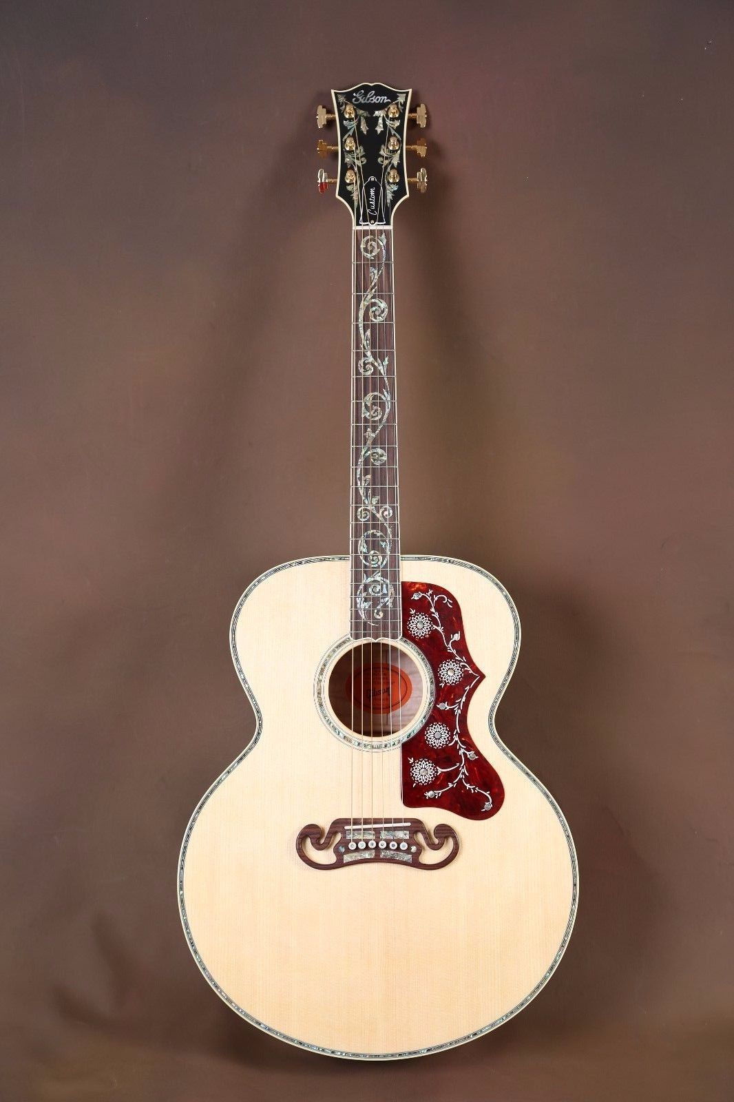 2015 gibson sj 200 custom quilt vine acoustic guitar j 200 711106103143 ebay 6 8 12 string. Black Bedroom Furniture Sets. Home Design Ideas