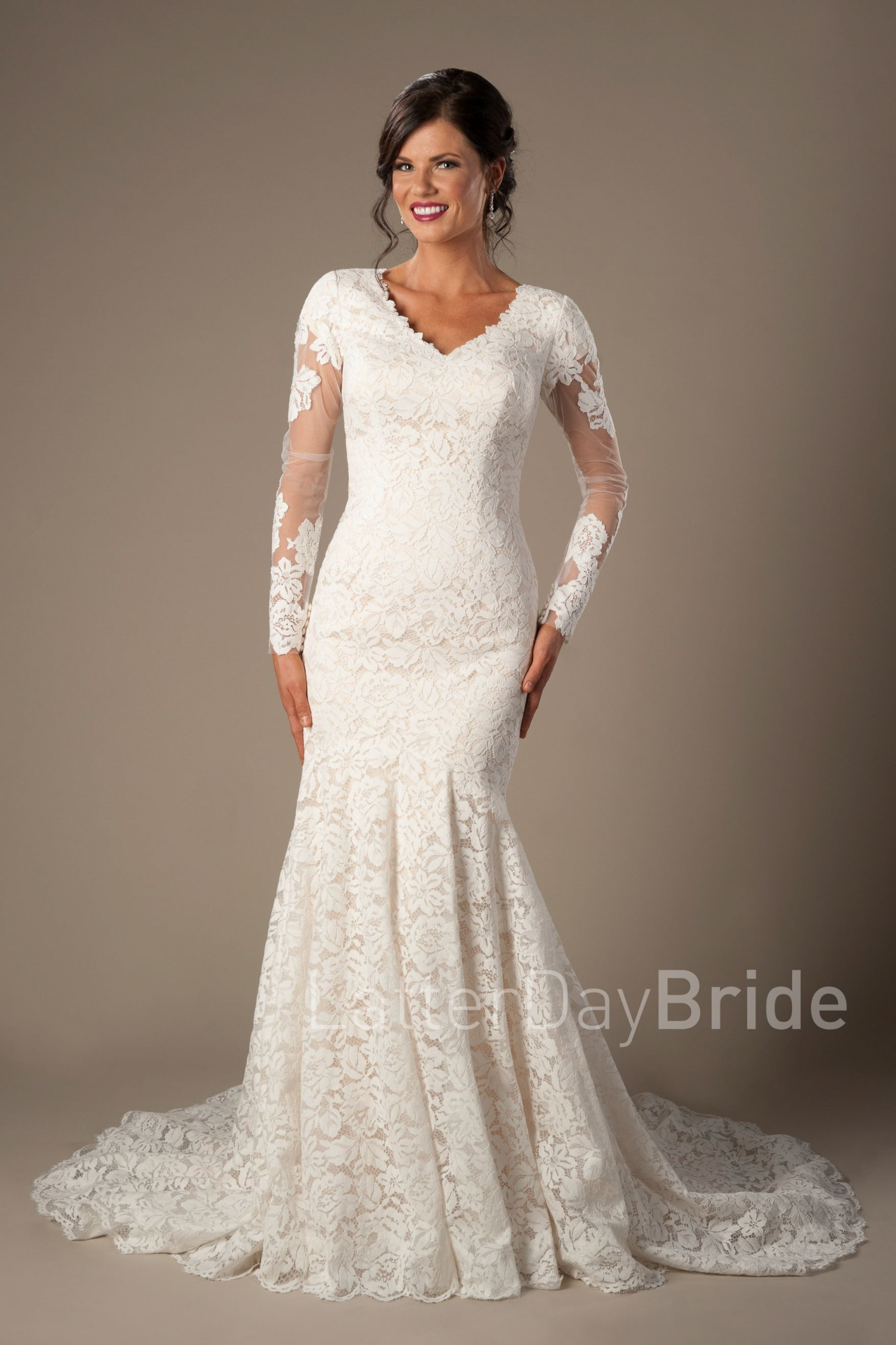 Armstrong | Modest Wedding Dress | LDS Bride | Lace Bridal Gown ...