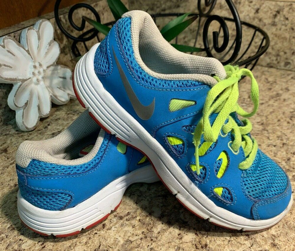 Details about nike blue green girls athletic shoes size