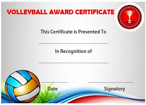 Volleyball Certificate Sample  Volleyball Certificates Free