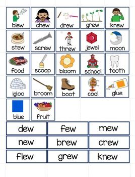 Oo ou ew amp ue PictureWord Sort Center activities Word sorts