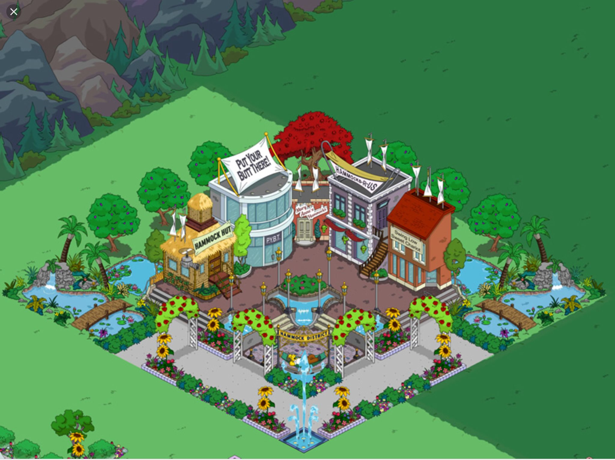 Simpson's Tapped Out town designs by Mollie Seney The