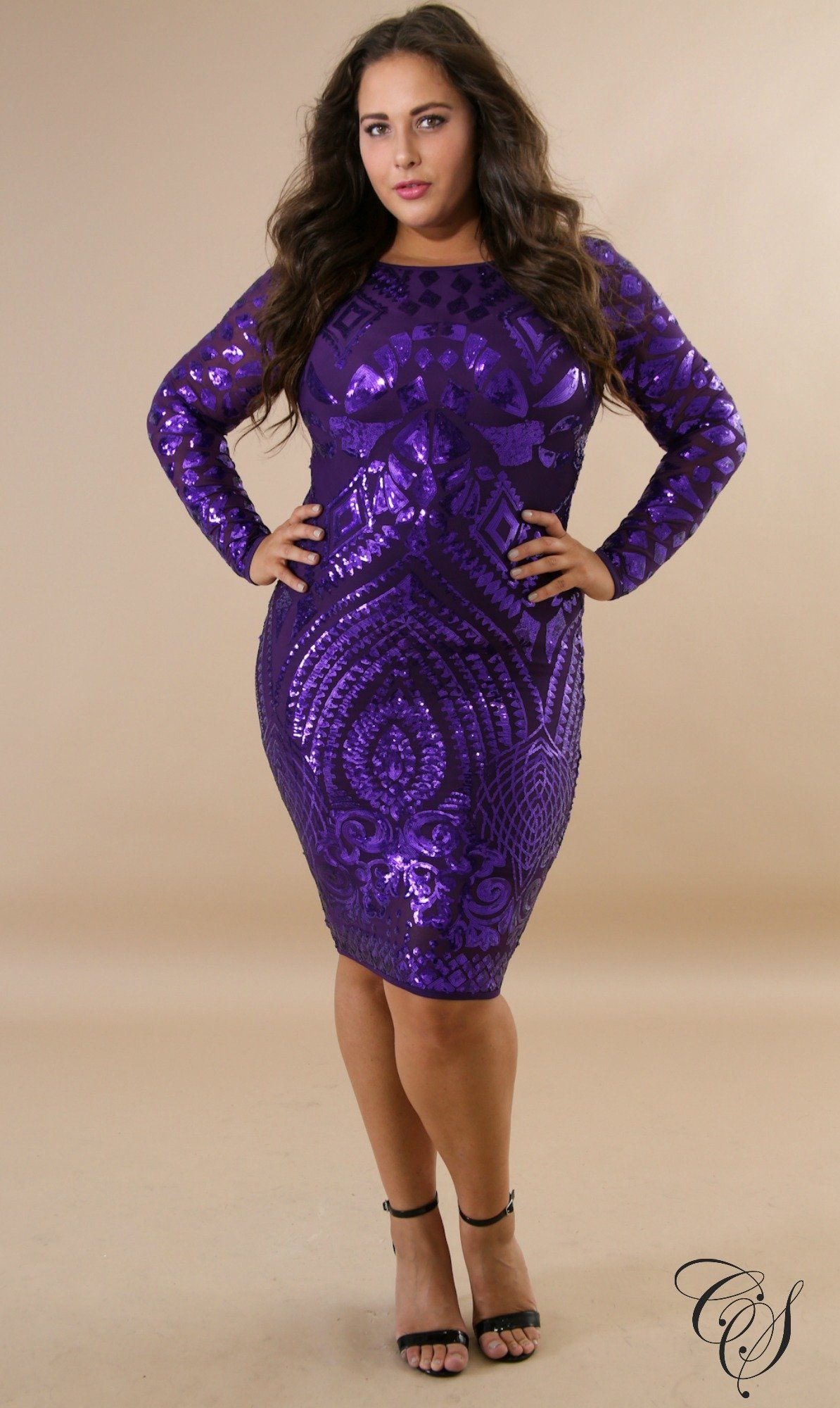 This sequin queen body-con dress features, a semi-stretch fabric ...