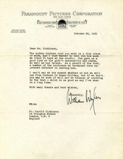 The letter that made Audrey Hepburn a star 1951 Pinterest