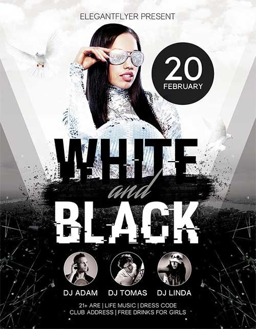 White And Black Party Free Psd Flyer Template  HttpFreepsdflyer