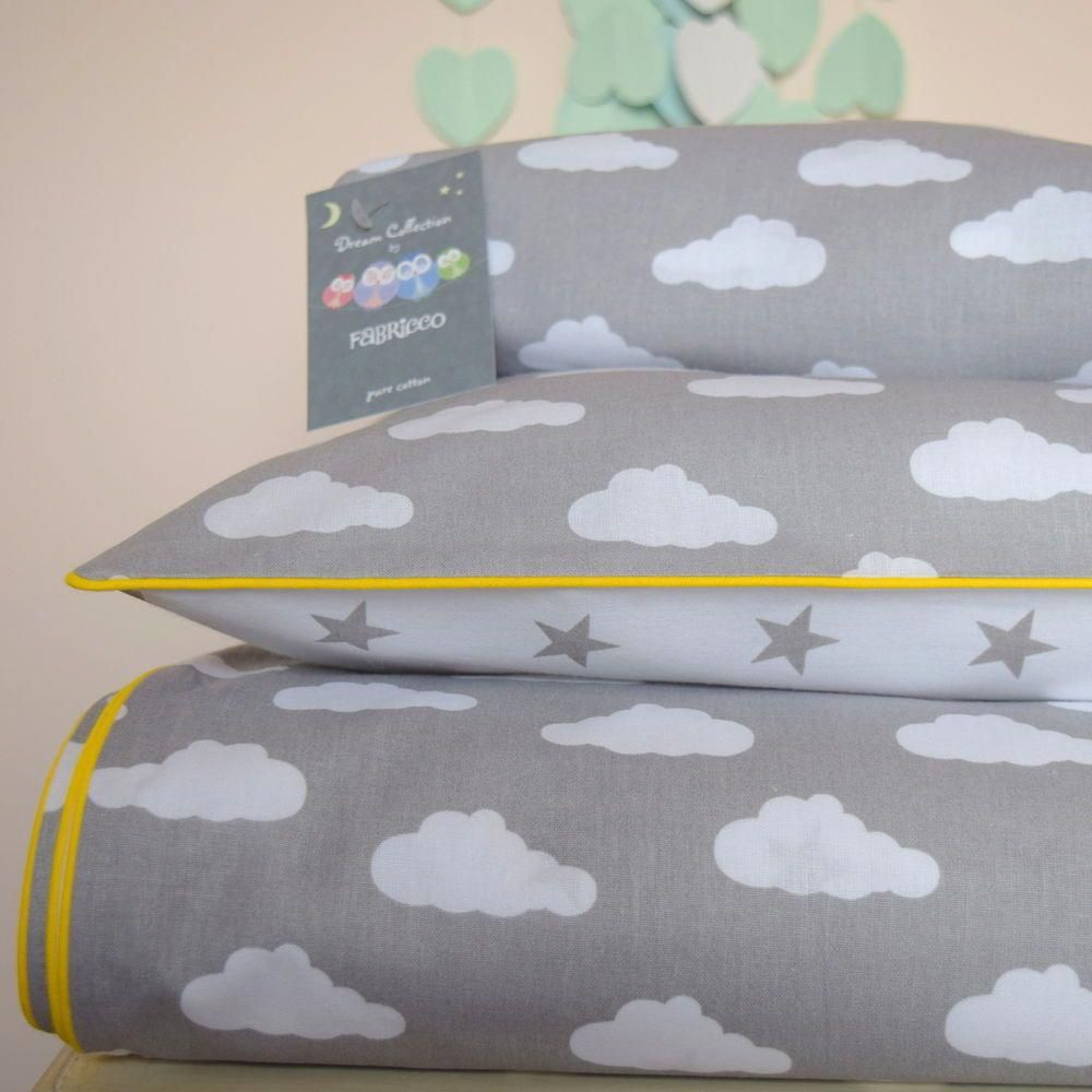 100cotton Cot Bed Duvet Cover Bedding Set Grey Stars Clouds