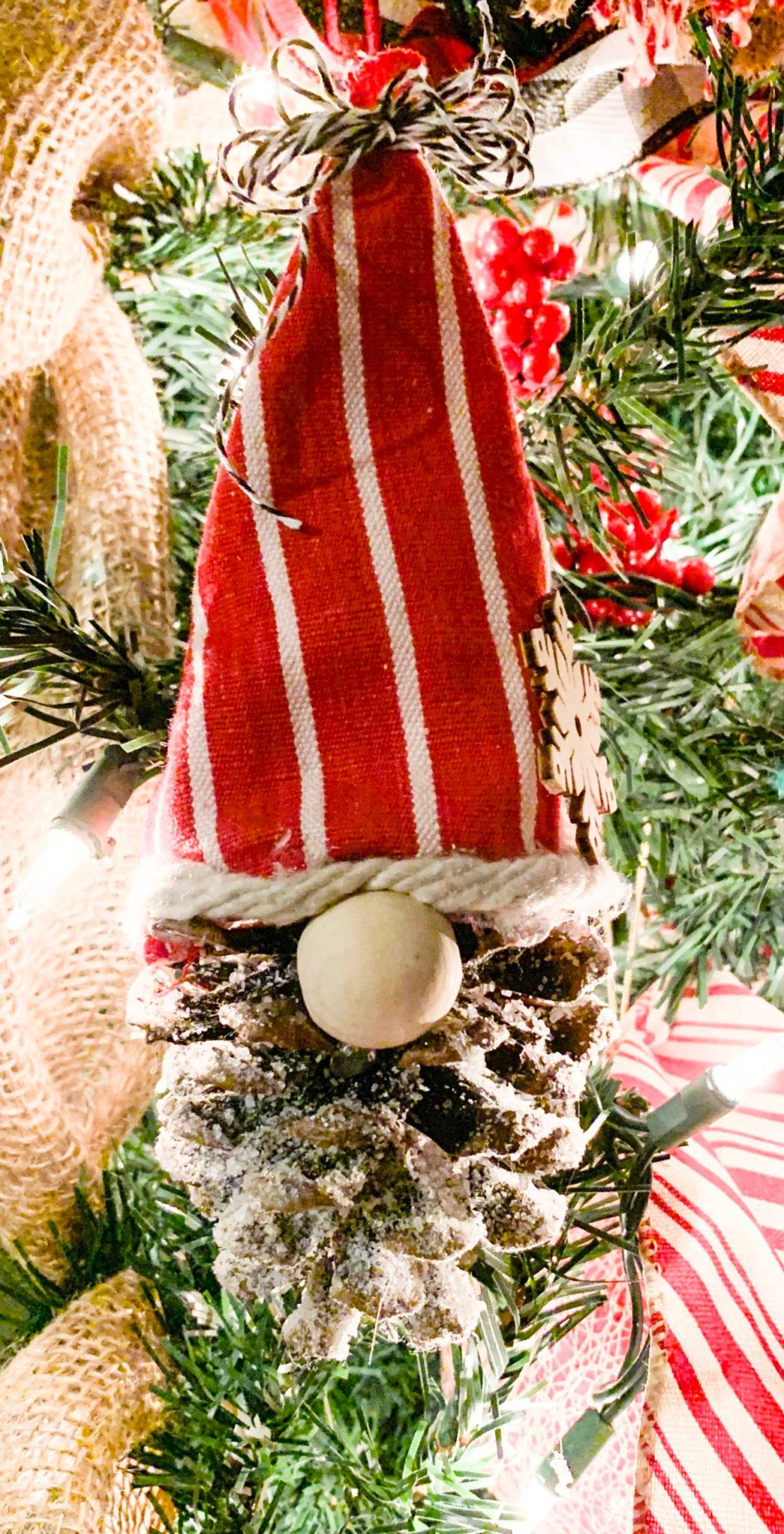 DIY Pinecone Gnome Ornament Lizzy & Erin Christmas