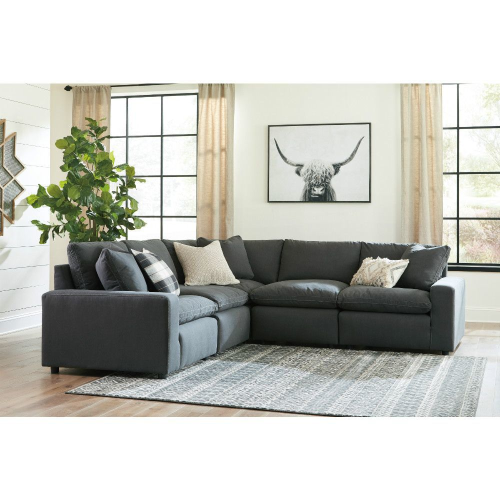 Zen 5 Piece Sectional Charcoal In 2020 Charcoal Sectional Furniture Furniture Layout