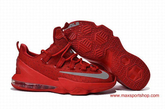 the latest 9bdd8 ccee7 2016 Nike LeBron 13 Low Team Red Silver USA Team Mens Basketball Shoes