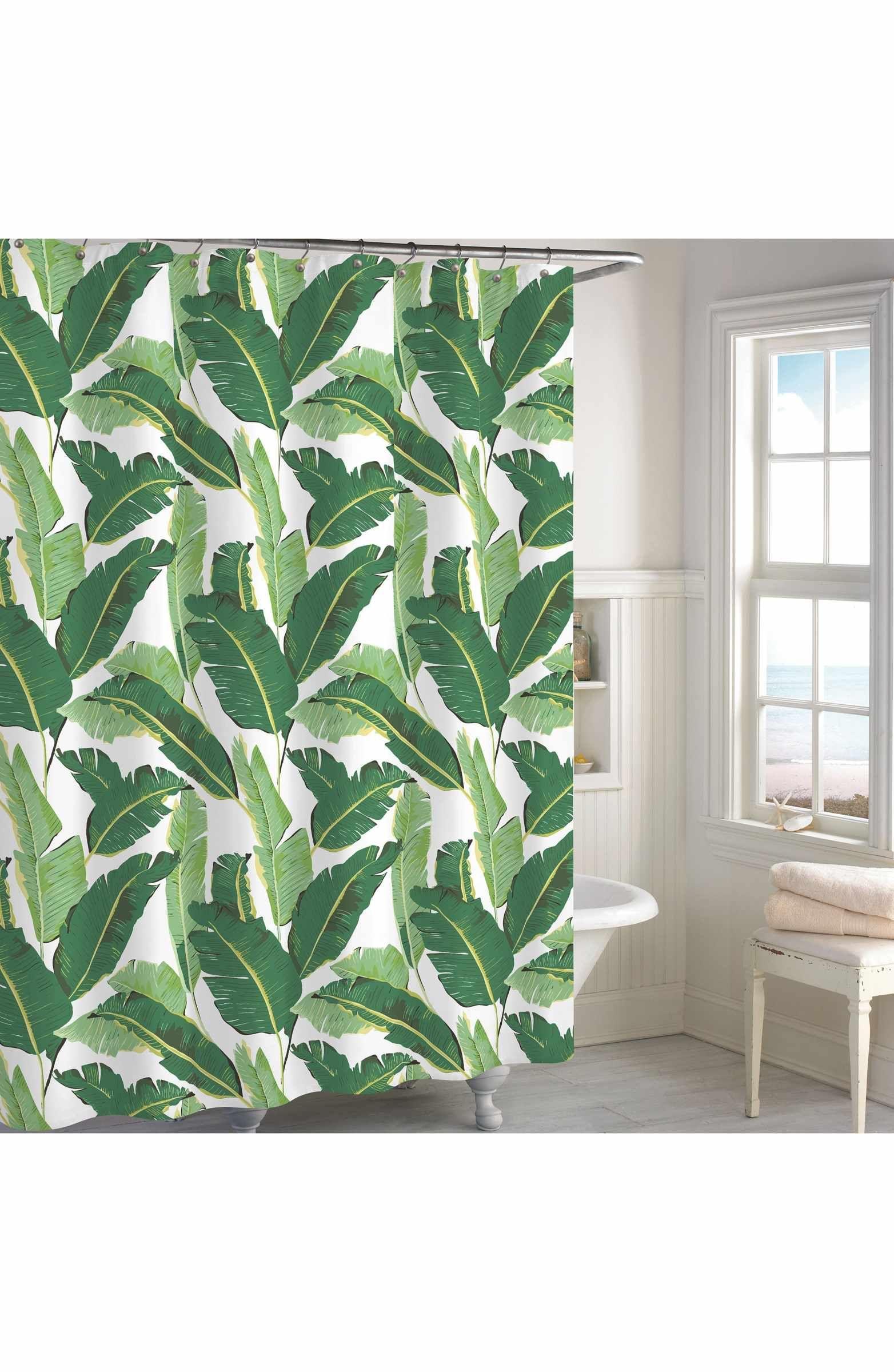Destinations Miami Leaf Shower Curtain Green Shower Curtains