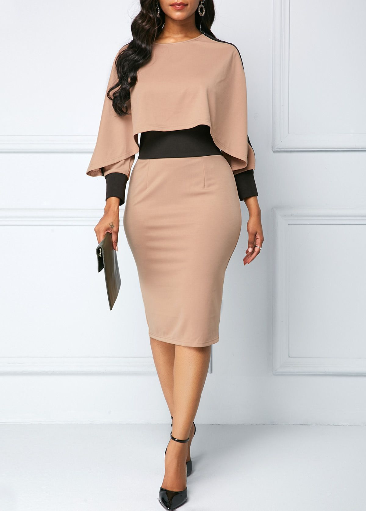 Long Sleeve Back Slit Overlay Front Sheath Dress | modlily.com - USD $27.60