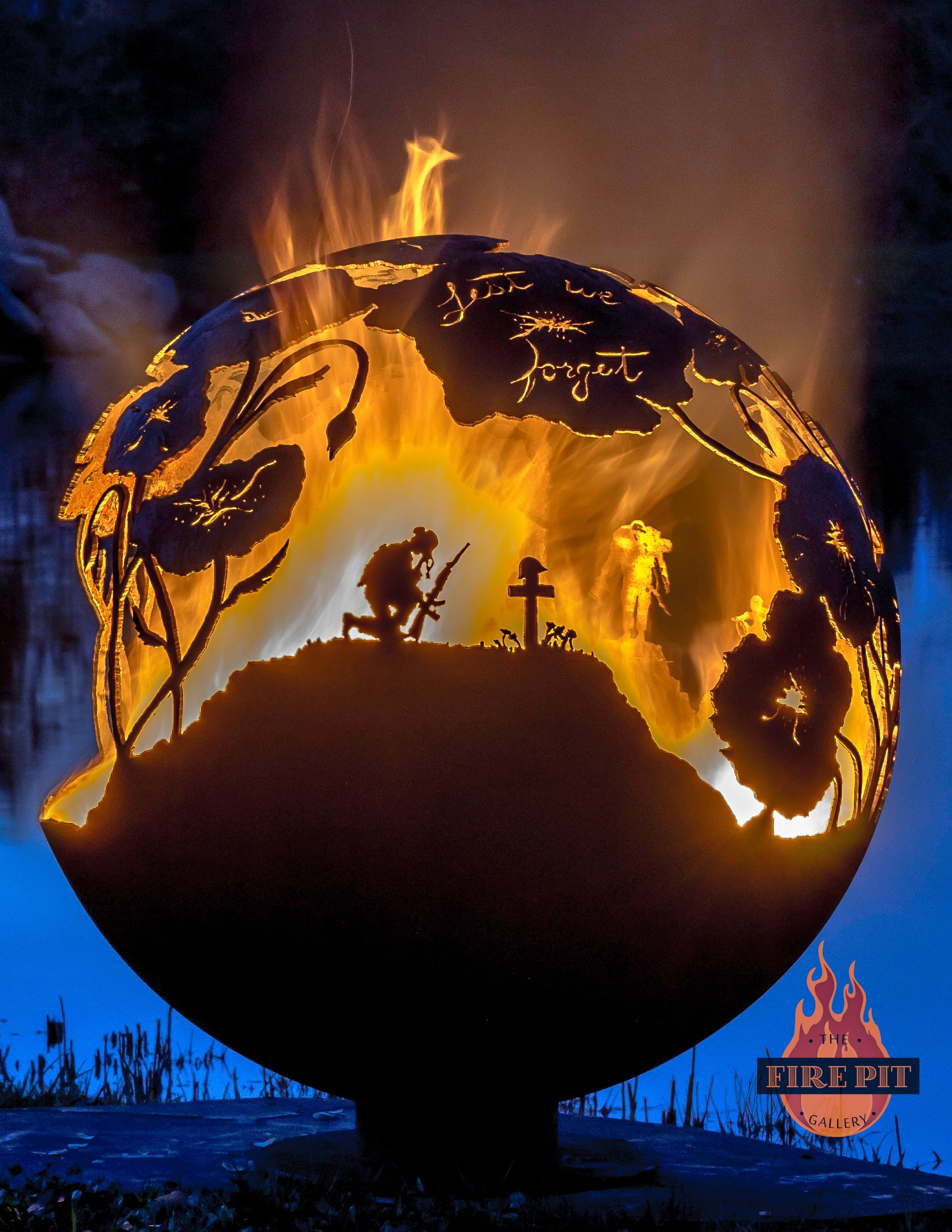 lest we forget remembrance day veterans day fire pit sphere by