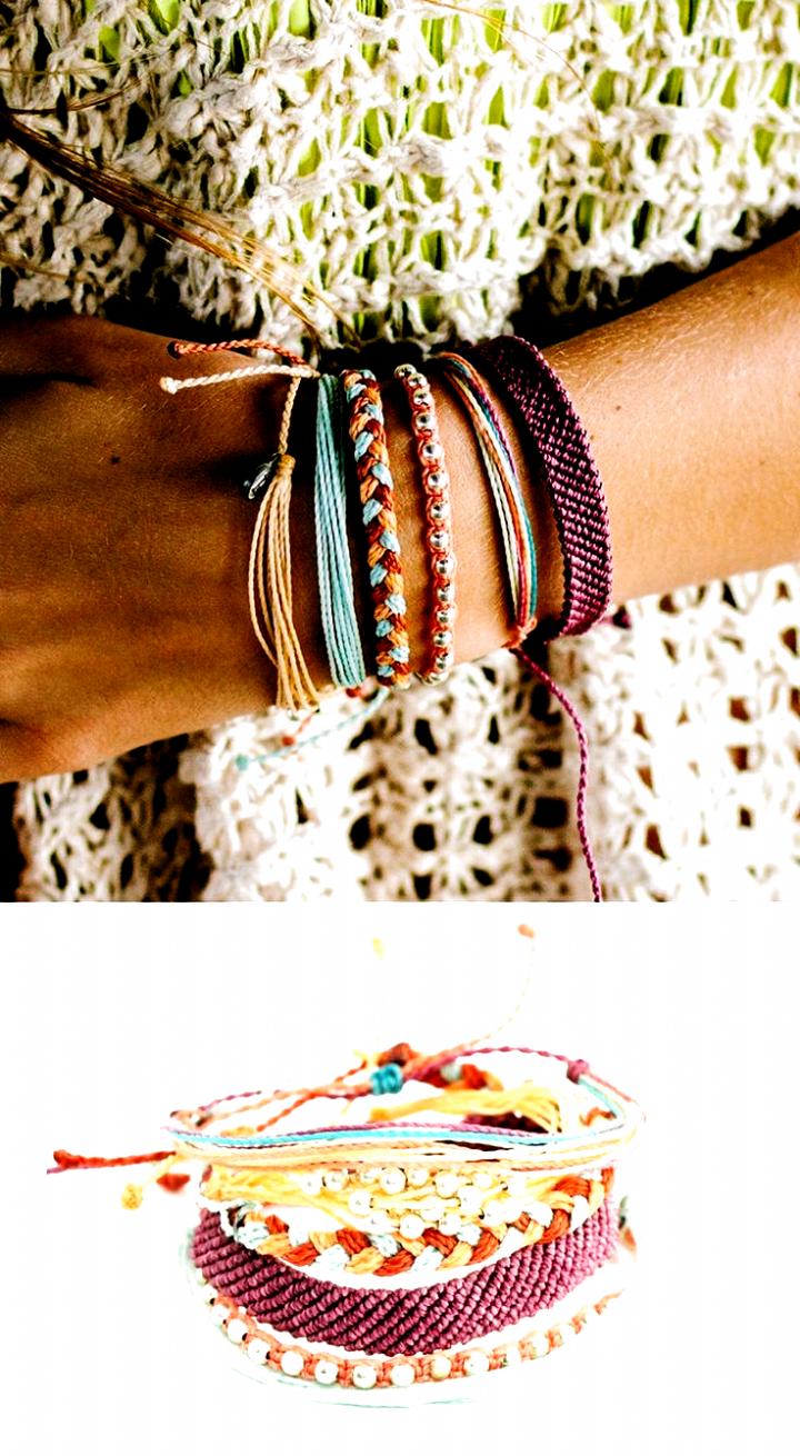 Stacking Pura Vida Bracelets gives an effortless bohemian look