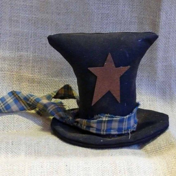Prim Top Hat Decoration by SnowmanCollector on Etsy, $9.00