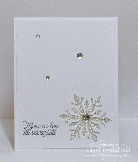 handmade winter card Snow Falls by simplybeautiful all white - card