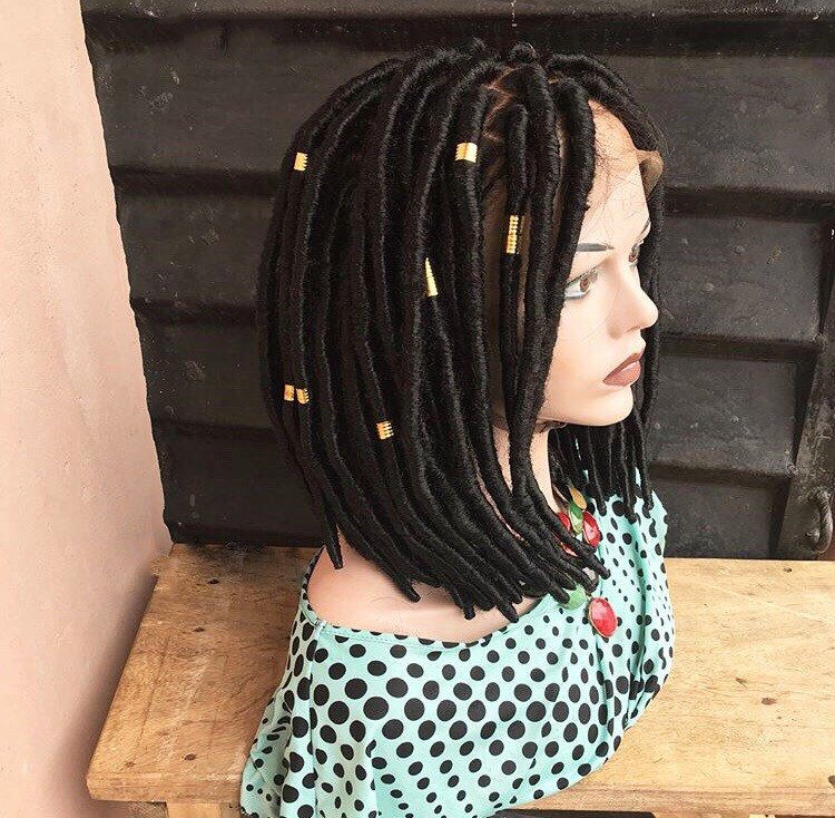 Hand made Faux Locs BOB Braided wig 1B Availabl colors