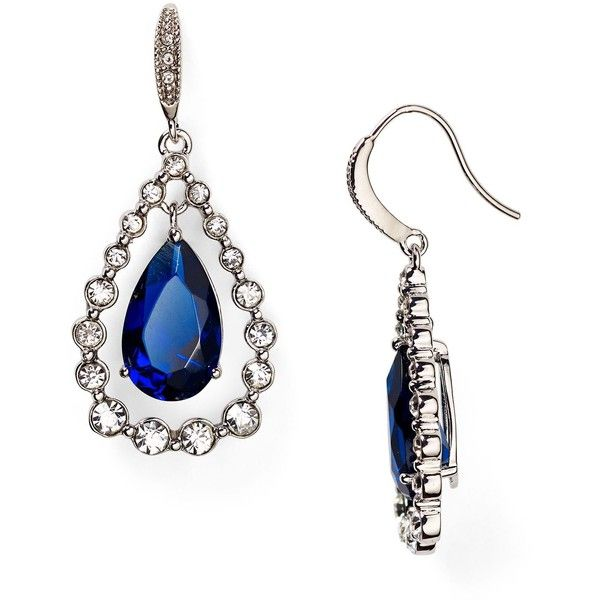 Carolee Uptown Girl Teardrop Earrings (£36) ❤ liked on Polyvore featuring jewelry, earrings, blue, blue jewelry, carolee, earring jewelry, teardrop earrings and pave earrings