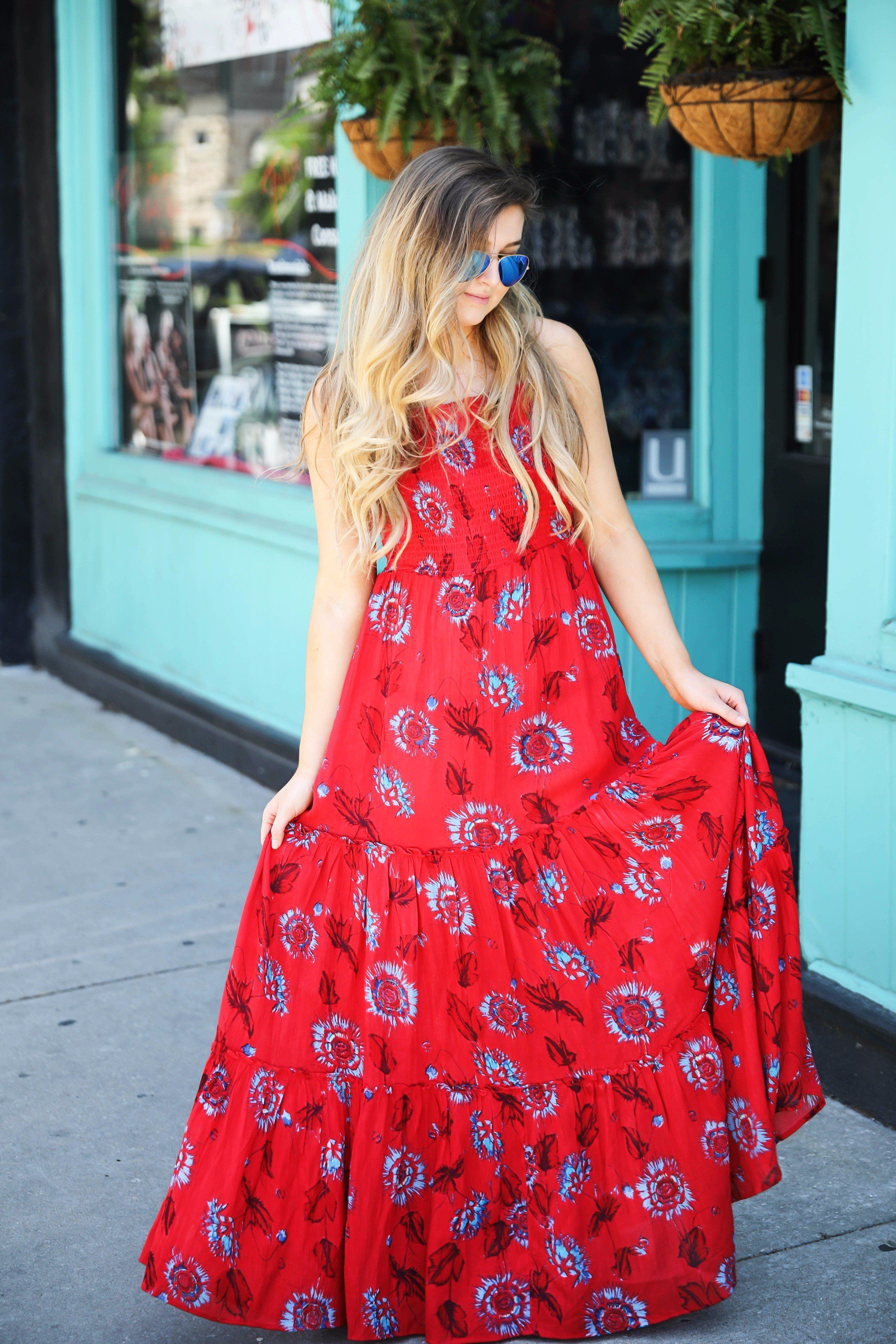 Free People Red Tie Back Maxi Dress For Summer And Fourth Of July Outfit By Lauren Lindmark On Daily Dose Of Ch Red Maxi Dress Outfit Red Dress Maxi Maxi Dress [ 3360 x 2240 Pixel ]