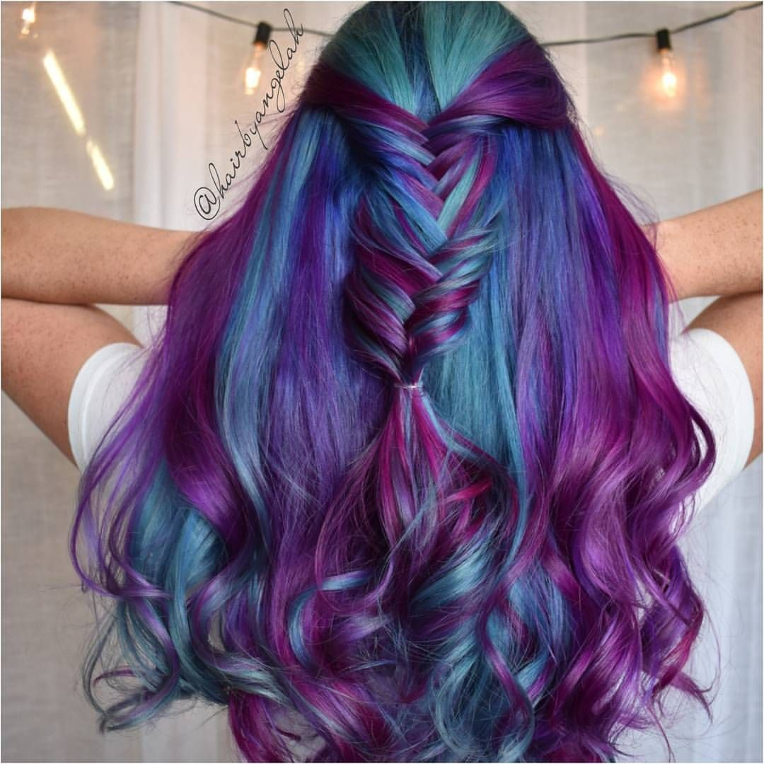Diagonal Layered Ombre Blue Purple Violet Hair Vivid Hair Color Mermaid Hair Color Hair Styles