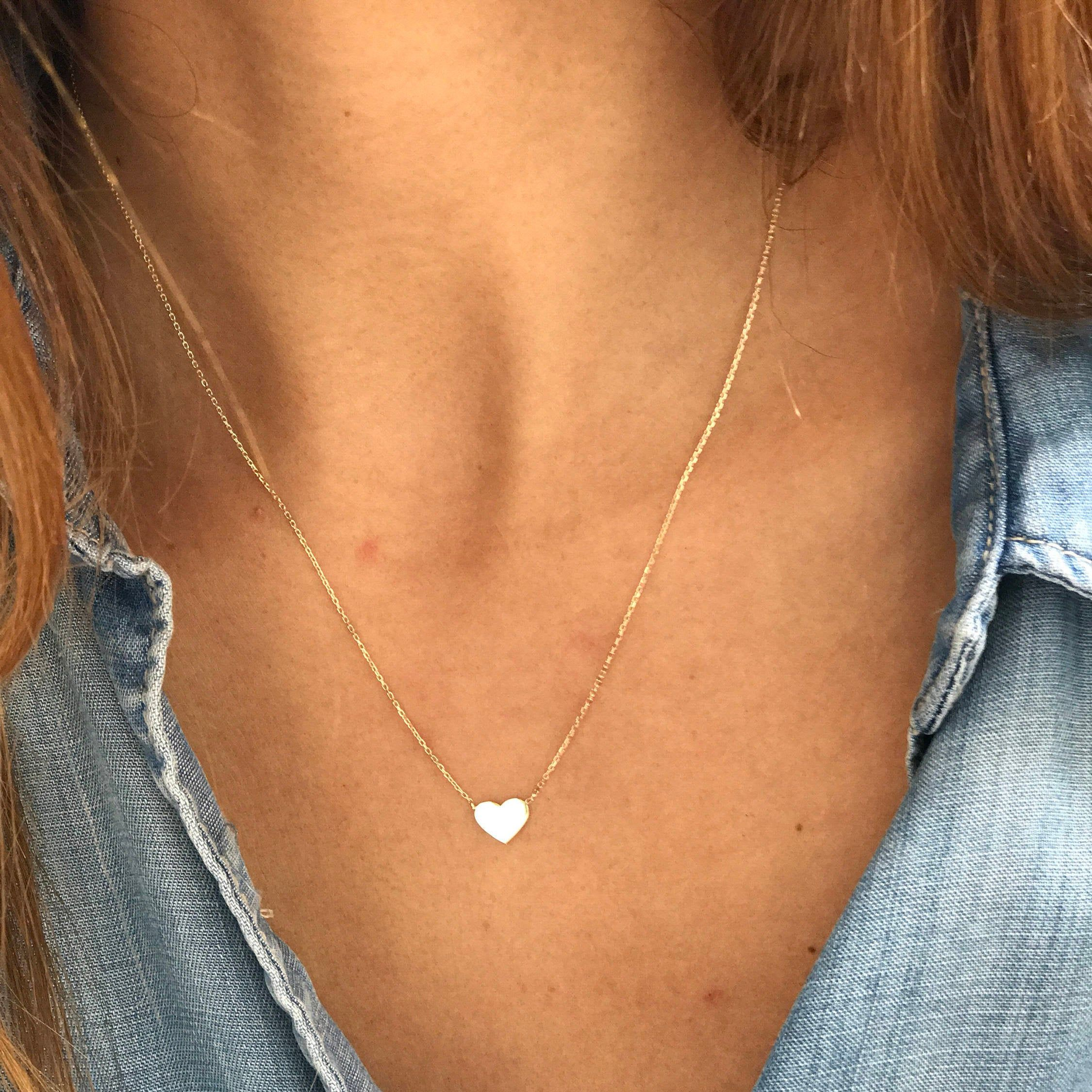 Véritable 14k Or Jaune Pendentif En Forme De Cœur /& Chaîne 14k solide or collier