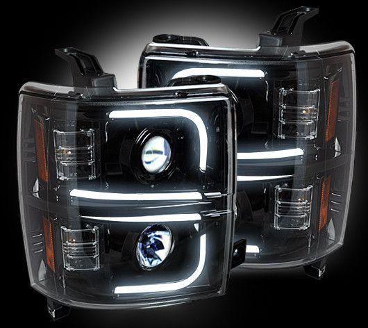 Recon Projector Headlights For Chevy And Gmc Recon Black Led Projector Headlights W Drl 2014 2017 Chevy Silverado 1500 Chevy Silverado Chevy Silverado Accessories 2015 Chevy Silverado