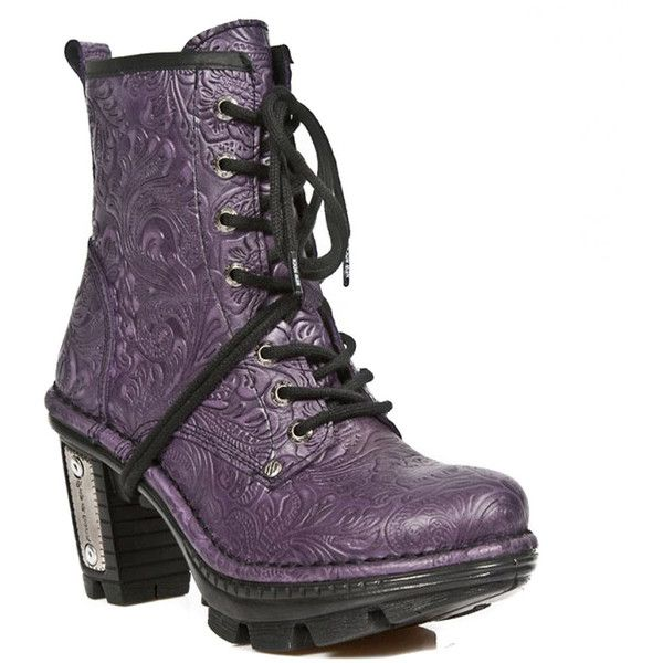 New Rock Boots Style M.NEOTR008-S29 Flower Boot (Purple) ($200) ❤ liked on Polyvore featuring shoes, boots, blossom boots, rock boots, flower boots, women shoes and famous footwear