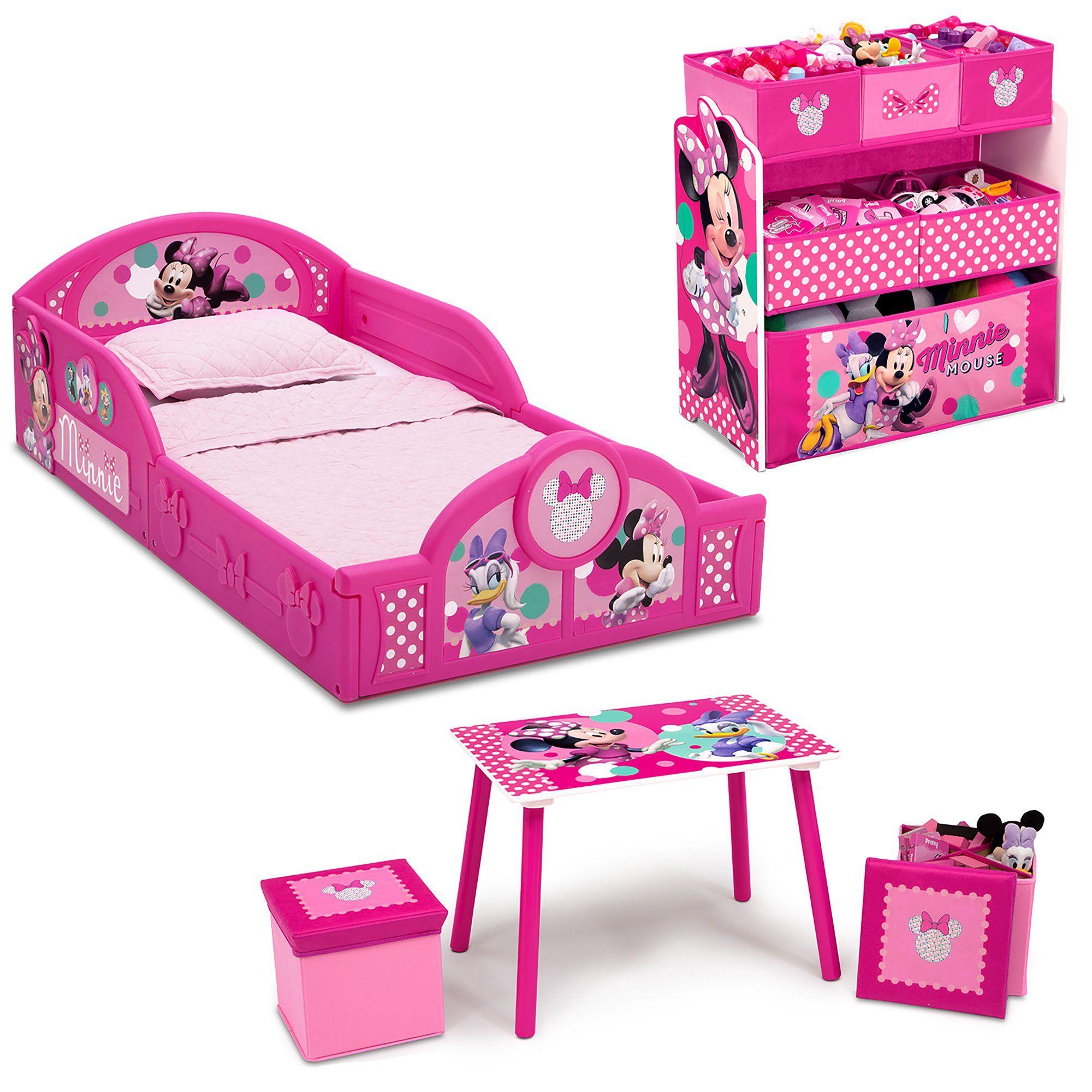 Disney Minnie Mouse 5 Piece Toddler Bedroom Set By Delta Children Includes Toddler Bed Table 2 Ottoman Set Multi Bin Toy Organizer Walmart Com Toddler Bedroom Sets Minnie Mouse Bedroom Toddler Bedrooms
