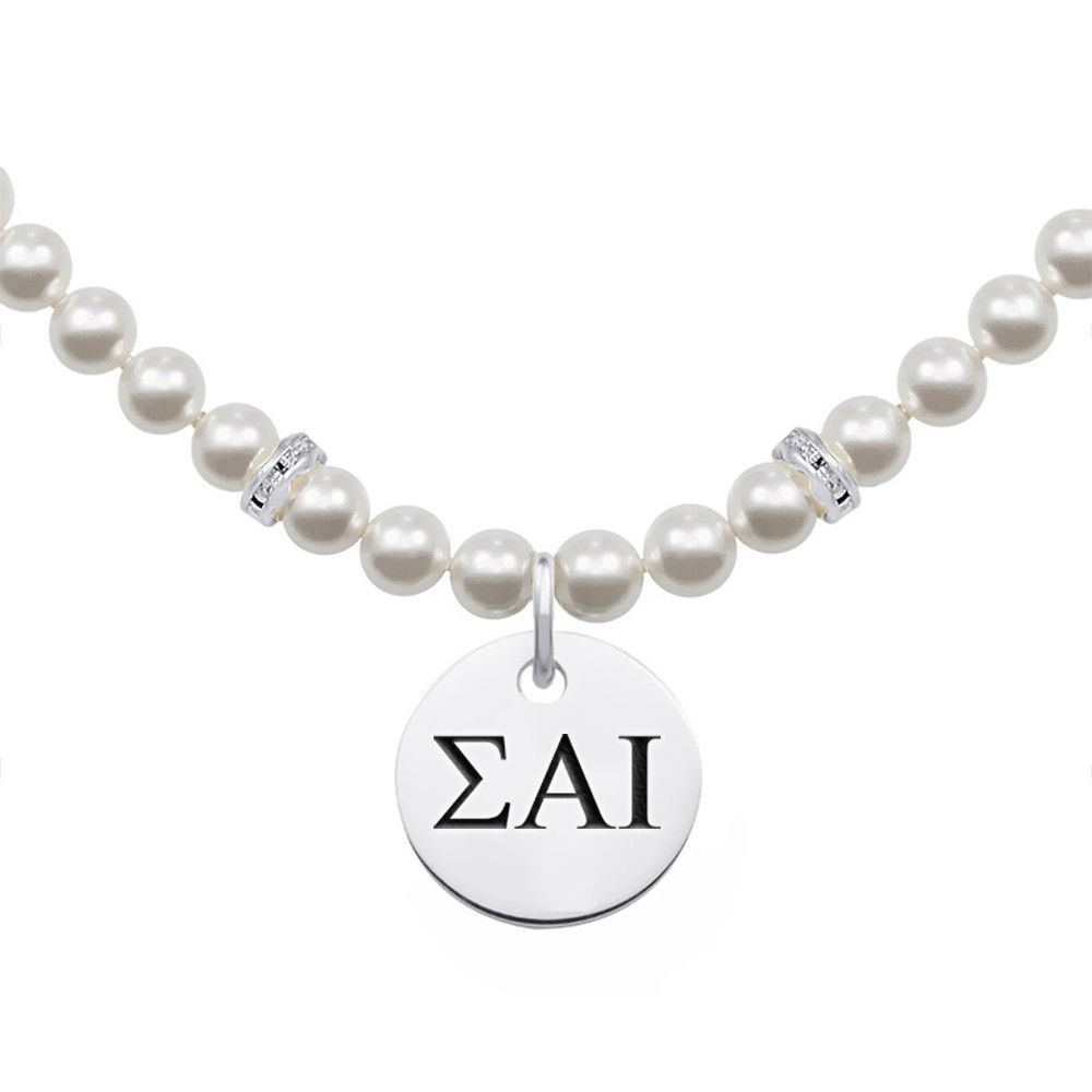 Sigma Alpha Iota Greek Letters Pearl Necklace With Round Charm