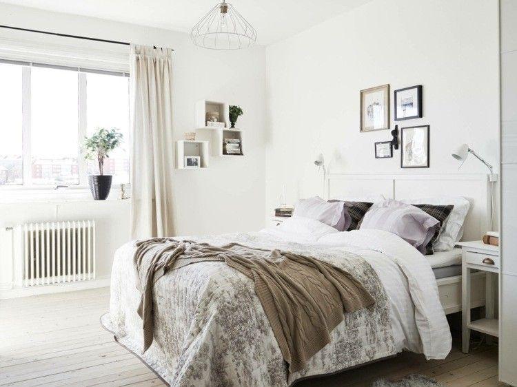 interieur scandinave chambre coucher sol bois rutique rideaux