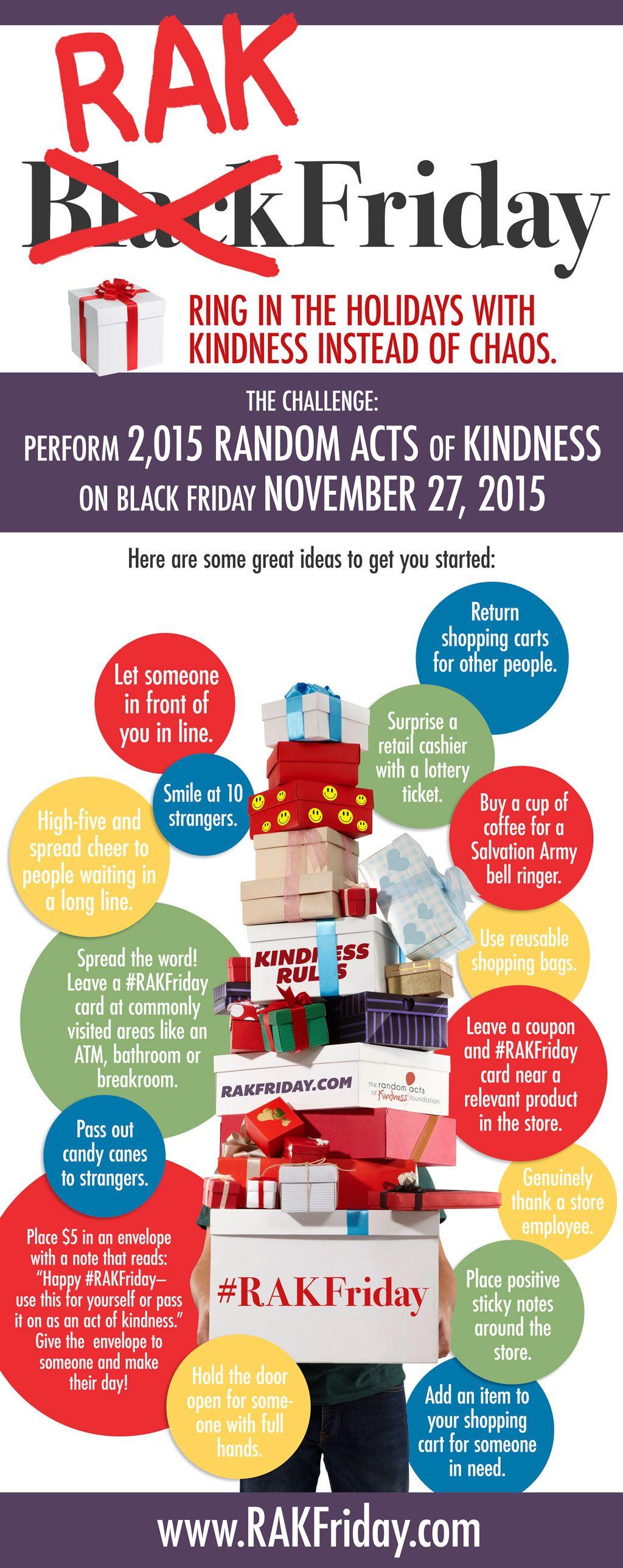 10 Ideas For Rakfriday On Nov 27 Let S Perform 2 015 Random Acts Of Kindness