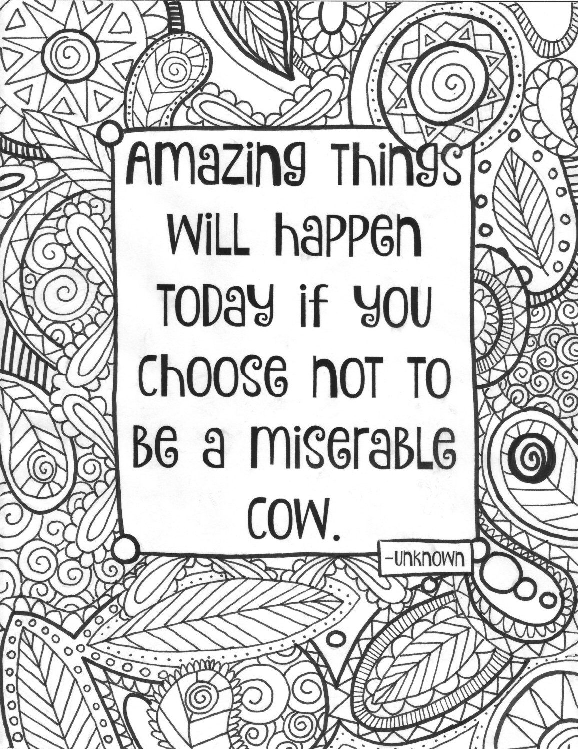 Adult Coloring Page Funny Quote Coloring Sheet Instant