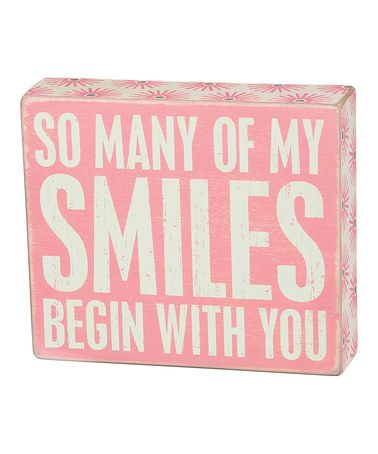 Pink 'My Smiles' Box Sign
