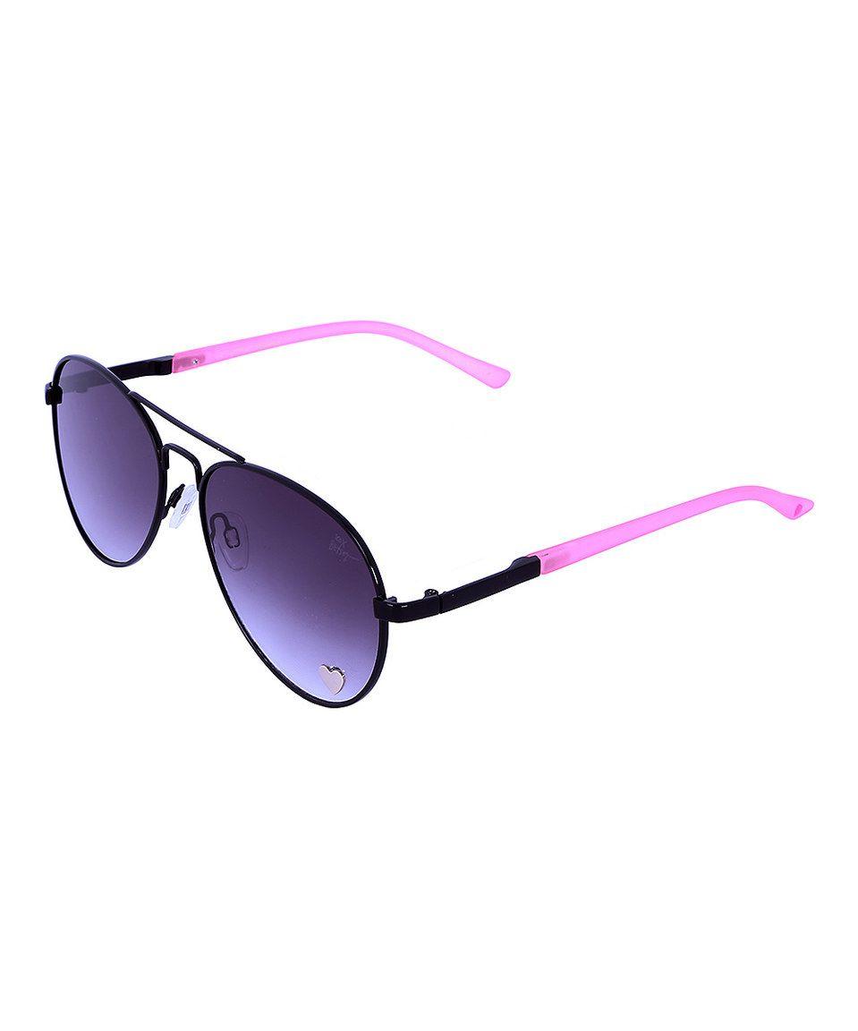 Love this Betsey Johnson Black & Pink Aviator Sunglasses by Betsey ...