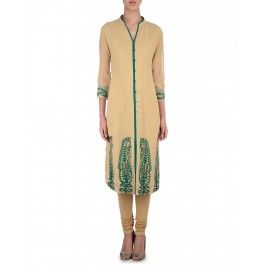 Beige Tunic with Embroidered Hem