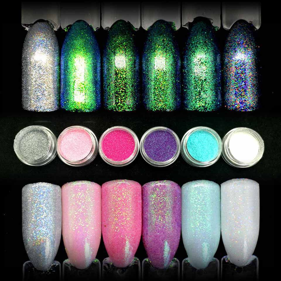 6 Colors Shining Mermaid Effect Nail Art Glitter Dust DIY Nail ...