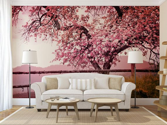 Cherry Blossom Tree Mural Self Adhesive Peel And Stick Photo Etsy In 2021 Girls Room Wallpaper Tree Mural Cherry Blossom Tree
