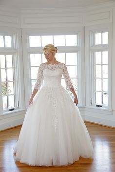 Evelyn Modest Ball Gown. Amazing Lace wedding dress that Grace Kelly would have swooned over! Vintage-Inspired and lovely.