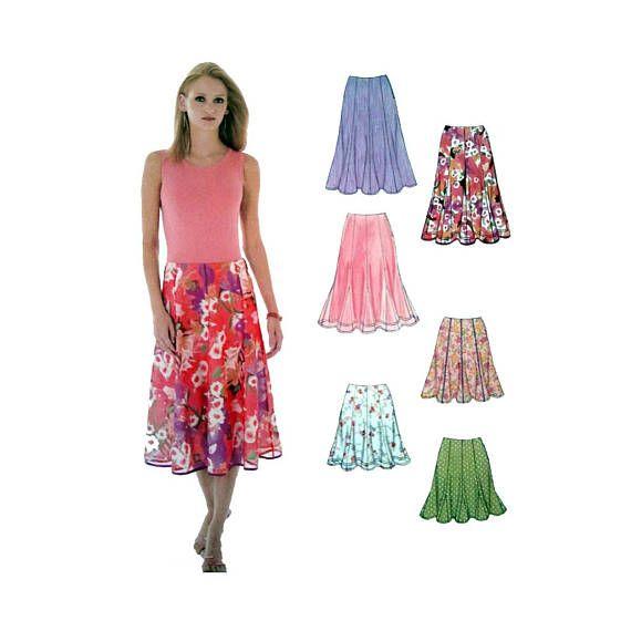 "New Look 6461 Women's Skirt Sewing Pattern Misses' / Plus Size 10, 12, 14, 16, 18, 20, 22 Waist 25, 26, 28, 30, 32, 34, 37"" Uncut"