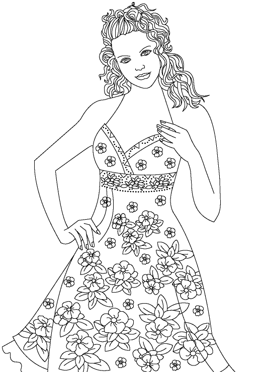 Fashion Model2 Coloring Page Png 513 740 Colorful Fashion Coloring Books Barbie Coloring Pages