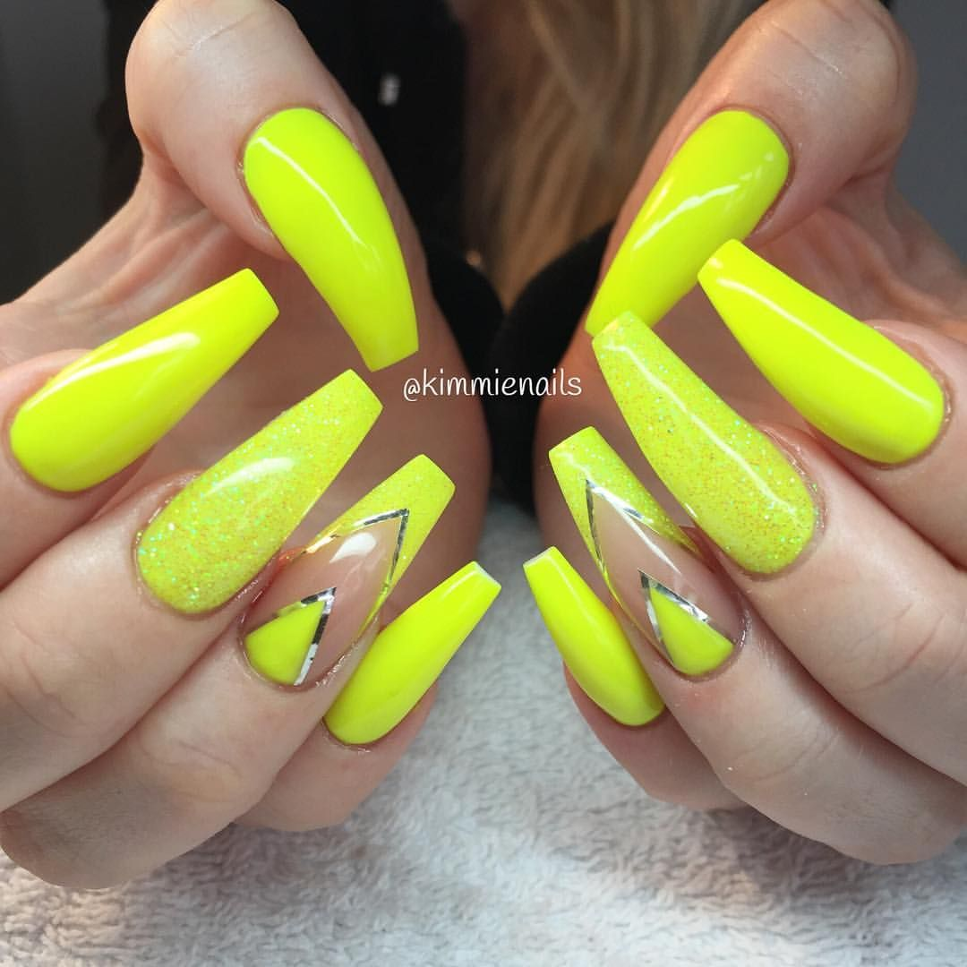 Neon Yellow With Images Neon Yellow Nails Yellow Nails Design