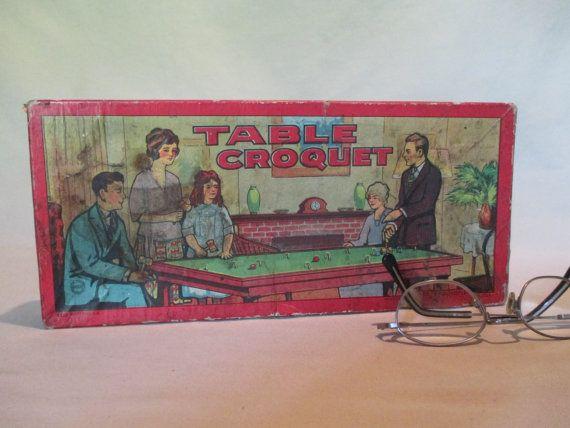 Table Croquet Vintage Milton Bradley 4333 Parlour by HobbitHouse
