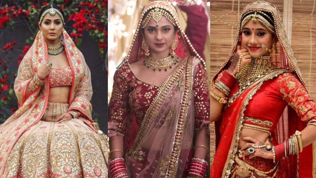 Hina Khan Vs Jennifer Winget Vs Shivangi Joshi Which Lehenga Is Best For A Wedding Reception Bridal Lehenga Choli Fancy Sarees Bridal Lehenga