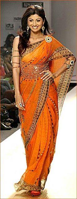 Shilpa Shetty In Orange Jewelled Saree Indian Dresses Indian Fashion Bollywood Fashion