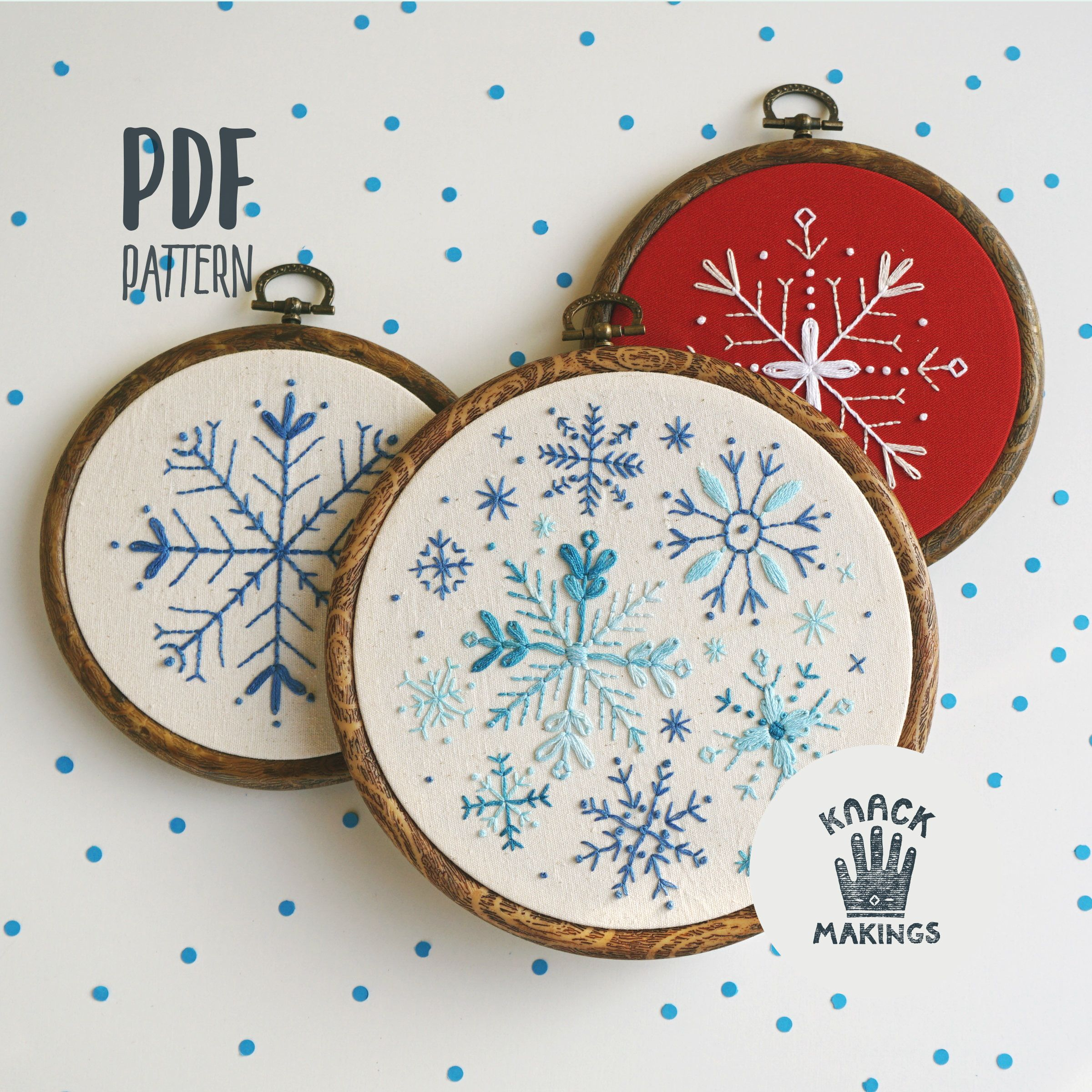 Snowflakes Collection - PDF Embroidery Pattern, Beginner Needlework Pattern, Holiday Gift, Winter Embroidery. DIY by Knack Makings